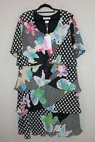 Vivid Brand Multi Floral Layer Short Sleeve Day Dress Size 20 BNWT #TK30