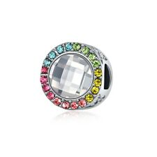 European Silver Xmas Charms Heart Gem Bead CZ Pendant Fit 925 Sterling Bracelets