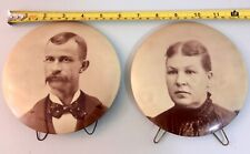 "2 Columbia Portrait Co Chicago Vintage Metal Pictures And Frames 6"" Pin Buttons"