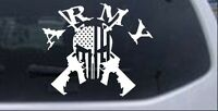 ARMY Punisher Skull US Flag Crossed AR15 Guns Car or Truck Window Decal Sticker