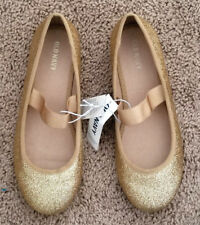 NWT Old Navy Girl Sparkly Gold Ballet Flats / Mary Janes Elastic Strap Sz: 6