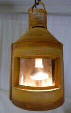 Rustic Nautical Yellow Lantern Electric Hanging Light