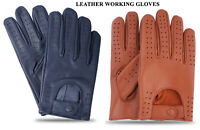 Men's Classic Retro Style Soft Lambskin Leather Quality Chauffeur Driving Gloves