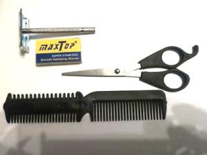 Kit rasoir avec 5 lames ciseaux a moustache peigne a effiler 8 pieces