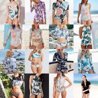 Women Long Sleeve Surfing Bikini Swimwear One-Piece Swimsuit Beach Bathing Suit