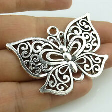 14563*4PCS Silver Vintage Hollow Large Animal Butterfly Pendant Alloy Antique