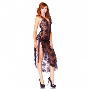 2 Piece Rose Lace Long Dress from Leg Avenue - Uk 8-14 - Black or Red
