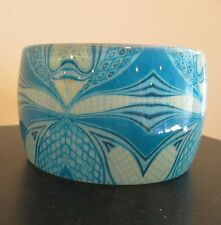 "2"" Wide Blue & White Lucite, Plastic Abstract Pattern Bangle Bracelet"