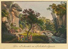 SÄCHSISCHE SCHWEIZ - Liebethaler Grund - Lochmühle - kol. Umrissradierung 1820