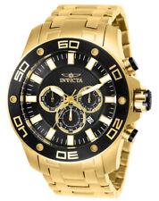 Invicta Men's Watch Pro Diver Scuba Chrono Black Dial Yellow Gold Bracelet 26076