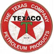 "TEXACO FILLING STATION 12"" ROUND METAL SIGN GAS GARAGE SIGN PETROLEUM DISTRESSED"