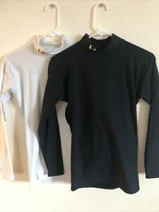 Under armor base layer long sleeve thermal wear black and white Lot Of Two