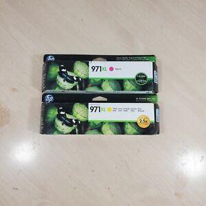 (2) HP Genuine OEM OfficeJet Pro 971XL(Yellow, Magenta,) Cartridges. New Sealed