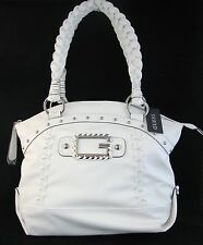 NEW GUESS BY MARCIANO JANICE WHITE LEATHERETTE TOP ZIP TOTE,HANDBAG,PURSE