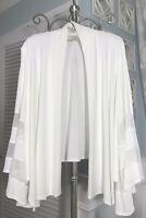 NEW~Plus Size 1X Ivory Boho Dressy Bride Bell Sleeve Open Cardigan Short Jacket
