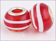 Peppermint Stripe Murano Glass Large Hole Beads