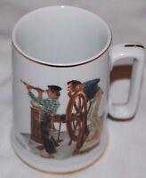 Vintage River Pilot Coffee Mug Porcelain Tankard Cup Norman Rockwell Seafarers