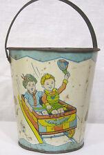 Vtg J. Chein Sand Bucket Kids on Amusement Park Rides Rocket Roller Coaster 50s