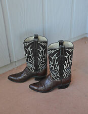 VINTAGE TONY LAMA COWGIRL BOOTS - WOMENS SIZE 5.5 - TEJU LIZARD BLACK BROWN