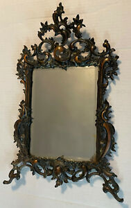 Antique Cast Iron? Copper? Finish Scrollwork Ornate Framed Beveled Mirror Heavy