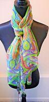 Etro NWT Multi Color Long Green Silk Chiffon Oblong Scarf Shawl Wrap Retail $425