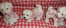 Dog Figurines (Set 3) White Long Hair w/ Pink Ribbon Collar Ceramic Vintage  L11