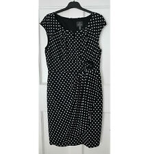 Adrianna Papell Black and White Polka Dot Sheath Summer Dress Scoop Neckline