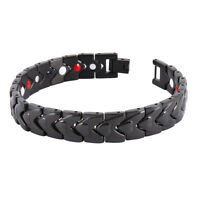 Men Black Titanium Steel Magnetic Health Therapy Care Energy Bracelet Gift