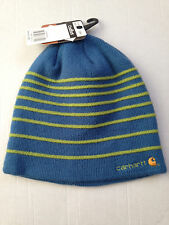 NWT CARHARTT FOR WOMEN WINTER HAT AQUA   LIME GREEN PUFFY STRIPE BEANIE  SNOW SKI 87835fdcbe3