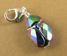 Scarab beetle crystal clip on charm. Sterling silver. Made w/ swarovski elements