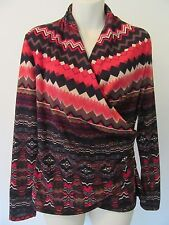 Sunny Leigh Ladies Shirt SMALL Red Black Stretch Wrap-Neck Chevron Tribal Top