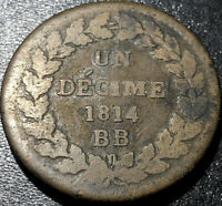1814 BB France 1 Decime Napoleon I N Crowned Rare French Revolution Coin