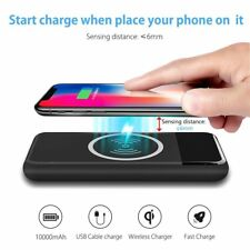 Qi Wireless Portable Charger, Hokonui 10000mAh Fast Charging Power Bank with LED