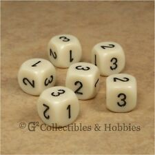 NEW Set of 6 D3 Six Sided 1 to 3 Twice Ivory Game Dice D&D RPG 16mm Chessex