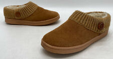 Clarks England Womens Brown Knit Collar Suede Lined Clogs Slippers Size 9M