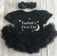 PERSONALISED 1ST EID TUTU ROMPER, Silver Glitter Name First Eid, Newborn Gift