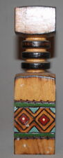 VINTAGE HAND MADE PYROGRAPHY PAINTED CANDLESTICK