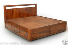 Sheesham wood Storage Queen seize Bed, Box Bed, Storage bed  # LE-1010049Q
