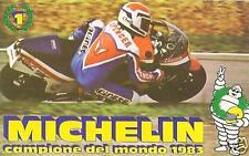 """""""OMINO MICHELIN"""" ADESIVO ANNI 80 """"CAMPIONE DEL MONDO 1983"""" FORMATO (12,5 x 7,5)"""