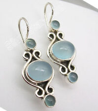 """925 SOLID Silver Hot Selling CHALCEDONY Designer PRETTY NEW Earrings 1/2"""""""