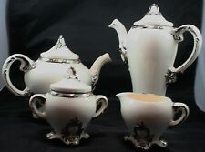 Holland Mold Silver and White 4 Piece Tea Set Unique