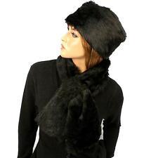 Ladies Winter Soft Animal Print Faux fur Bucket Ski Cap Hat Scarf Set Black