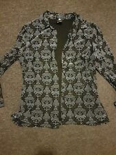 Postie Blue & Black Long Sleeved Button Up Blouse Sz 14 PREOWNED