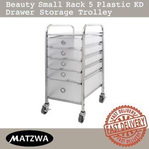 Rolling Cart Beauty Rack White 5 Plastic KD Drawer Metal Frame Storage Trolley
