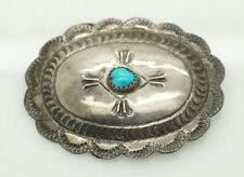 Oval Turquoise Pin Brooch Vintage Solid 00004000  Sterling Silver/925