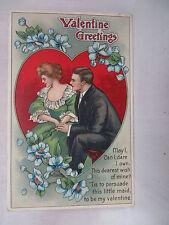 VINTAGE EMBOSSED VALENTINES POSTCARD ROMANTIC MAN & WOMAN IN A RED HEART UNUSED