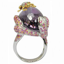 De Buman 18K White Gold 29.32ctw Genuine Amethyst & Diamond Ring, Size 7