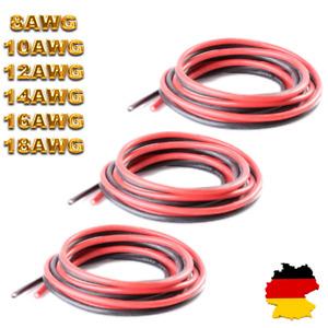 Silikonlitze Silikonkabel Rot Schwarz Litze 10AWG 12AWG 14AWG 16AWG 18AWG Kabel
