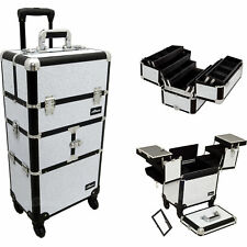 SUNRISE Professional Rolling Makeup Case, 6 Trays, Lock and Mirror-I3464