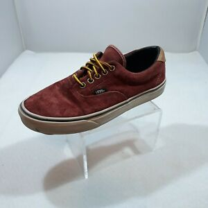 Vans Mens 6.5 Womens 8 Shoes Red Suede Casual Dress Lace Up Sneaker Scotchgard